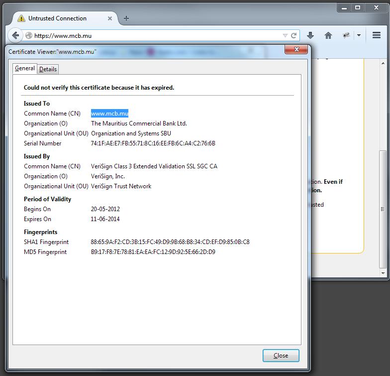 Expired SSL certificate for www mcb mu